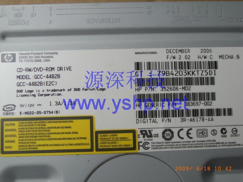 上海源深科技 上海 HP ProLiant ML350G4P服务器光驱 HP ML350 G4P DVD光驱 CD-RW DVD-ROM 383697-002 352606-MD2 高清图片
