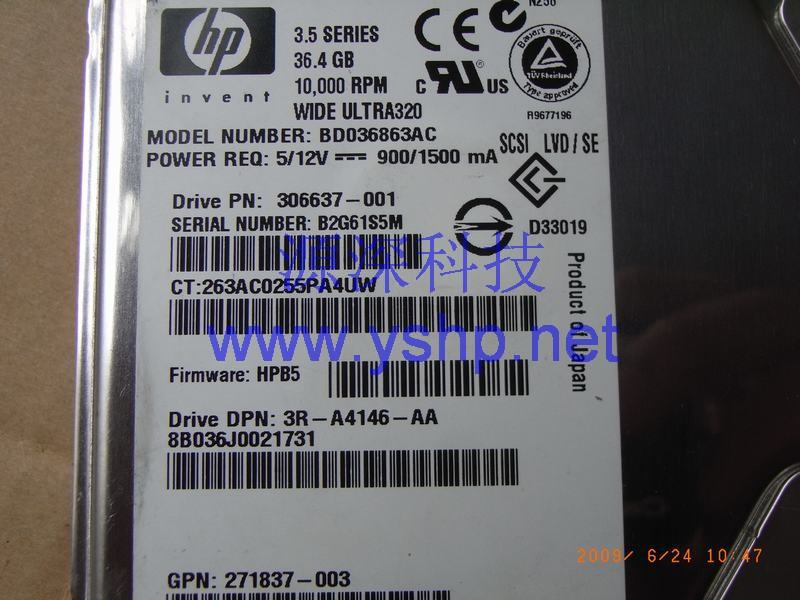 上海源深科技 上海 HP ProLiant DL380G4服务器硬盘 36G HP DL380 G4 SCSI硬盘 36.4G 10K U320 306637-001 271837-003 高清图片