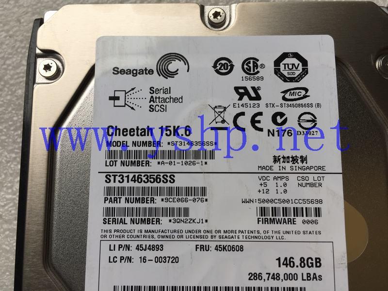 上海源深科技 联想R520G7服务器SAS硬盘 146G 15K.6 ST3146356SS 45J4893 45K0608 高清图片